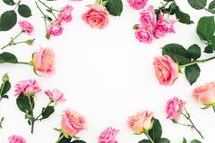 Kwiecisty ramowy skład z różami kwitnie, pączki i zieleń opuszcza na białym tle Mieszkanie nieatutowy, odgórny widok Zdjęcia Stock