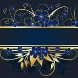 kwiecisty ramowy złoty Fotografia Royalty Free