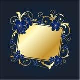 kwiecisty ramowy złoty Zdjęcie Royalty Free