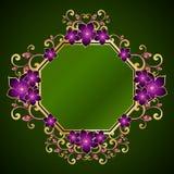 kwiecisty ramowy złoty Obraz Royalty Free