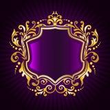 kwiecisty ramowy złoty Obrazy Royalty Free