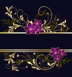kwiecisty ramowy złoty Obrazy Stock