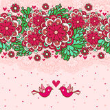 Kwiecisty romantyczny tło z ptakami w miłości. Fotografia Stock