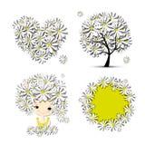 Kwiecisty set - drzewo, dziewczyna, serce, rama dla twój projekta Zdjęcia Stock