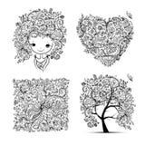 Kwiecisty set - drzewo, dziewczyna, serce, rama dla twój projekta Zdjęcie Royalty Free