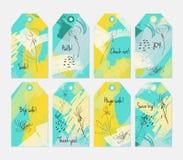 Kwiecisty sezonowy z kreślącym dandelion żółtej zieleni etykietki setem royalty ilustracja