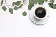 Kwiecisty skład robić zielony eukaliptus opuszcza i rozgałęzia się na białym drewnianym tle z filiżanką kawy femininely zdjęcie royalty free