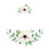 Kwiecisty skład z anemonem i liśćmi Zdjęcia Royalty Free