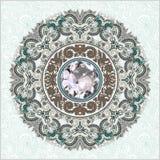 Kwiecisty tło z diamentowym klejnotem Obrazy Stock