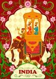 Kwiecisty tło z królewiątkiem na słoń przejażdżce pokazuje Nieprawdopodobnego India ilustracja wektor