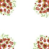 Kwiecisty tło z liśćmi, zawijasy tradycyjny ornamentu rosjanin Obraz Royalty Free
