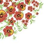 Kwiecisty tło z liśćmi, zawijasy tradycyjny ornamentu rosjanin Wektorowy bezszwowy wzór w Hohloma stylu Obrazy Stock