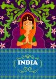 Kwiecisty tło z Mile widziany gest rękami pokazuje Nieprawdopodobnego India Indiańska kobieta ilustracja wektor