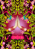 Kwiecisty tło z Mile widziany gest rękami pokazuje Nieprawdopodobnego India Indiańska kobieta ilustracji