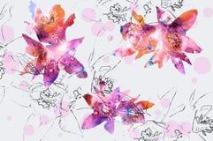 Kwiecisty tło z naturalnym kwiatu i ołówka konturem Zdjęcie Stock