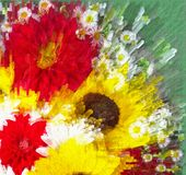 Kwiecisty tło z stylizowanym żywym bukietem słonecznik, aster, Dalia z odśrodkowymi promieniami ilustracja wektor