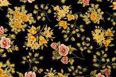 Kwiecisty tkaniny czerni tło obrazy stock