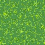 Kwiecisty wektorowy bezszwowy wzór w zieleni i kolorze żółtym Obraz Royalty Free