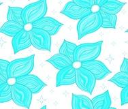 Kwiecisty wektorowy bezszwowy wzór z czułymi błękitnymi kwiatami ilustracji