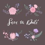 Kwiecisty wektorowy bukiet z wzrastał, peonia, anemon, Sakura, dzicy kwiaty Ręka rysujący wieśniacy odizolowywający przedmioty de ilustracja wektor