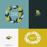 Kwiecisty wianek Set piękny płaski wektorowy projekt Obrazy Royalty Free