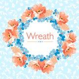 Kwiecisty wianek z kwiatami Zdjęcia Royalty Free