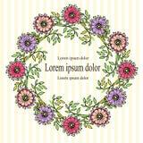 Kwiecisty wianku fiołek, kwiat, menchia, zieleń opuszcza czarnych kontury na białym i kolor żółty paskującym tle Zdjęcia Royalty Free