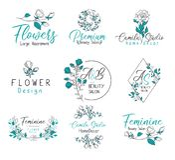 Kwiecisty wydarzenie planisty monograma logo set ilustracji