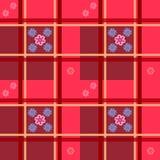 Kwiecisty wzór na małych kwiatach na czerwonym w kratkę tle dla tekstylnego projekta ilustracji