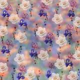 Kwiecisty wzór na zamazanym tle Zdjęcie Royalty Free