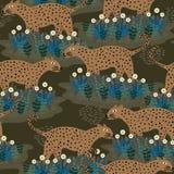 Kwiecisty wzór z afrykaninem Jaguar Bezszwowy śliczny dziecięcy rysunek Dzieciaków i dzieci ręka rysujący stylowy kolorowy wektor ilustracja wektor