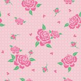 Kwiecisty wzór z różowymi różami Zdjęcia Royalty Free