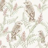 Kwiecisty wzór z ptakiem Obraz Stock