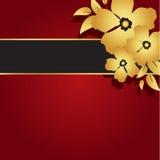 Kwiecisty złoto & czerwona kartka Zdjęcie Royalty Free