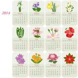 2014 kwiecistych kalendarzy Fotografia Royalty Free