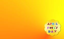 Kwietni durni dnia ilustracja nad żółtym tłem z tekst przestrzenią Zdjęcie Royalty Free