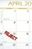 Kwietnia kalendarz stemplujący odrzut na podatku dniu Obrazy Royalty Free