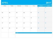 2017 Kwietnia kalendarz & x28; lub biurka planner& x29; z notatkami Obraz Stock