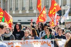 Kwietnia protest przeciw prac reformom w Francja Zdjęcie Royalty Free