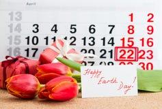 Kwietnia 22 ziemski dzień na kalendarzu Obrazy Stock
