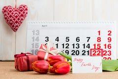 Kwietnia 22 ziemski dzień na kalendarzu Obrazy Royalty Free