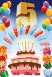 Kwinta urodziny plakat Zdjęcie Stock