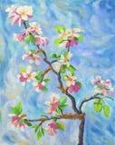 Kwitnąca jabłoń na błękitnym tle royalty ilustracja