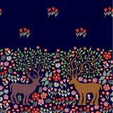 Kwitnący deers Bezszwowa wektor granica z fantazj drzewami i zwierzętami Fotografia Stock