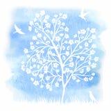 Kwitnący drzewo i ptaki Obrazy Stock