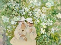 Kwitnący jaśmin i dziewczyny royalty ilustracja