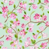 Kwitnący wiosna kwiatów wzoru tło Bezszwowy moda druk royalty ilustracja