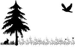 kwitnie łąkowego drapieżnika królika drzewa royalty ilustracja