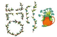 Kwitnie błękit w wazie i łańcuchach Obrazy Royalty Free