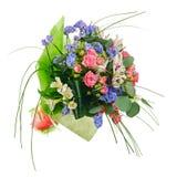 Kwitnie bukiet od wielo- barwionych róż, leluj i inny, kwiat Fotografia Stock